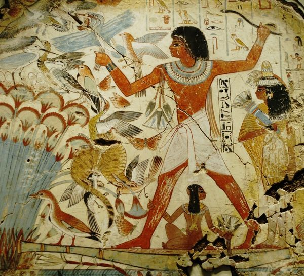 Mural from the wall of the tomb-chapel of Nebamun near Thebes Egypt dates to around 1350 - 1400 BC. Painting shows Nebamun a little known nobleman hunting in the marshes of the Nile with daughter and wife