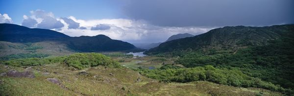 The view from Lady's View, Ring of Kerry, Killarney National Park, Ireland (shows hanging Sessile oakwoods and lakes)