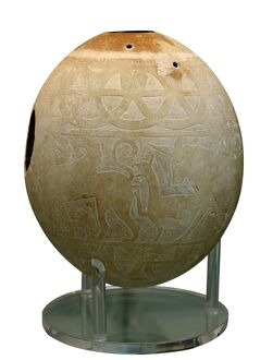 Decorated Ostrich egg dating to around 600 BC used as water container and fou decorated