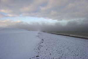 Snow Covered Beach At Salthouse Norfolk