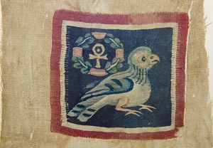 Textile panel depicting a bird with anhk-cross dating to 5-7th century AD from Akhmim