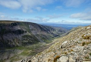 A view along Lairhig Ghru in the Cairngorm Mountains, Scotland, summer